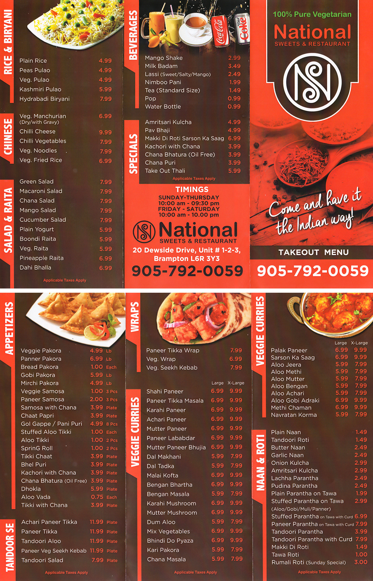 Take out national sweets and restaurant for Take out menu